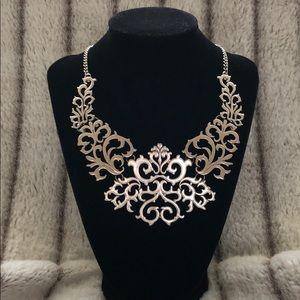 Renaissance silver tone statement necklace